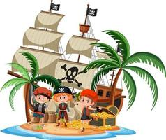 Pirate ship on island with many kids isolated on white background vector