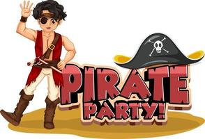 Pirate Party font banner with a pirate man cartoon character vector