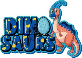Cute parasaurolophus dinosaurs cartoon character with font design for word Dinosaurs vector