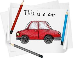 Sketch red car on paper isolated vector
