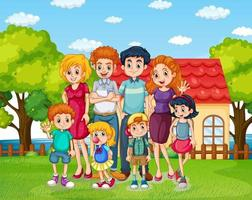 Happy family standing in front of the house vector
