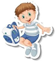 Sticker template with a student boy holding a backpack isolated vector
