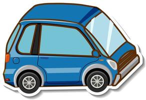 A sticker template with mini car in cartoon style isolated vector