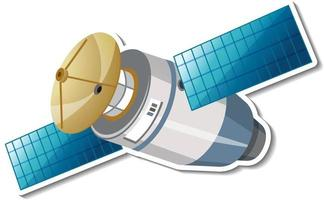 Sticker template with satellite in cartoon style isolated vector