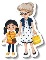 A sticker template with a grandmother and her granddaughter vector