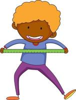 Cute boy holding ruler doodle cartoon character isolated vector