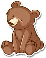 Sticker design with grizzly bear in sitting pose isolated vector