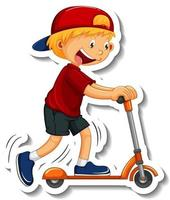 Sticker template with a boy riding a scooter cartoon character isolated vector