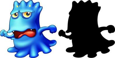 Blue monster with its silhouette on white background vector