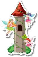 A sticker template with many fairies cartoon character and castle vector
