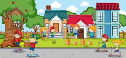 Outdoor scene with many kids playing at playground vector