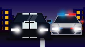 animación de coche de policía persiguiendo a un coche criminal por la noche. clip en alta resolución. video