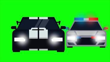 coche de policía está persiguiendo a un coche intruso. videoclip de animación con fondo de pantalla verde. video