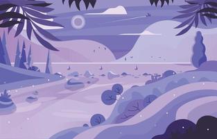 Pastel Purple River Scenery Concept vector