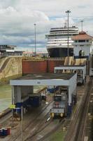 Cruise ship going through locks in Panama Canal photo