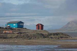Housing in port of Longyearbyen Svalbard in Norway photo