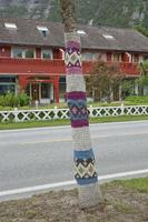 Knitted tree in Eidfkord, Norway photo