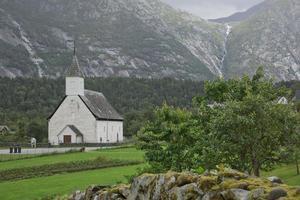 Eidfjord old church in the Norwegian Fjords of Norway photo