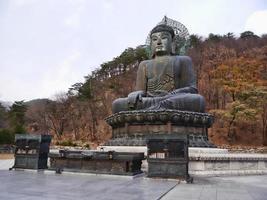 gran estatua de buda en el parque nacional de seoraksan. sokcho, corea del sur foto