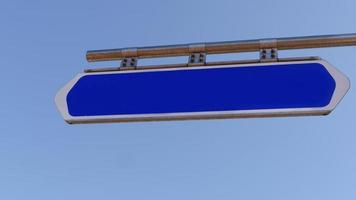 Template. Blue road sign with empty space and sky on a background photo