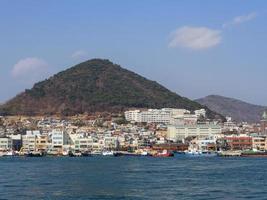 Panorama from the sea to Yeosu city. South Korea. January 2018 photo