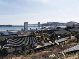 Asian houses in residential quarter of Yeosu city. South Korea photo