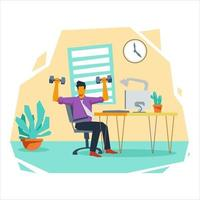 ejercicio físico en el lugar de trabajo, ilustración, concepto vector