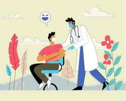 Doctor pushing injection to patient vector illustration concept