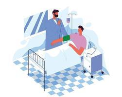 doctor visitando paciente concepto de ilustración vectorial vector