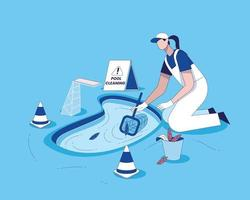 Swimming pool cleaning with cleaning equipment flat illustration vector, Pool maintenance concept, swimming pool service worker with net cleaning water vector