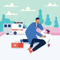 Emergency doctor checking patient to pick hospital illustration emergency ambulance service vector concept