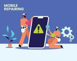 Mobile repairing flat illustration vector concept