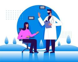 Doctor talking to lady patient illustration concept vector