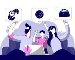 Family online shopping illustration concept vector