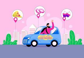 Home delivery illustration  courier service illustration  delivery handover to customer concept vector