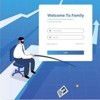 Fisherman catching job word on a fishing hook vector illustration concept login page design template