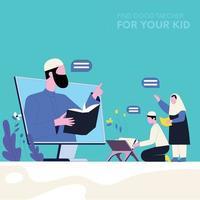 Kids learning Quran vector illustration concept  Islamic Education Illustrations