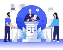 Tribunal legal con juez y tribunal de justicia juicio concepto de ilustración vectorial plana vector