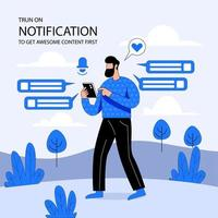 Get notifications flat illustration vector