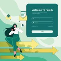 Login page design template, girl sitting on graph arrow chatting on phone vector