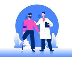 Doctor with broken leg patient illustration concept vector