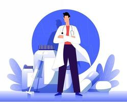 Medical doctor standing with medicine illustration concept vector