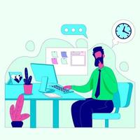 Man working from home illustration concept vector