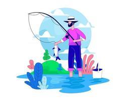 Man fishing on lake illustration concept vector