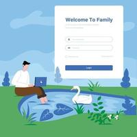 Login concept illustration  man near small lake with laptop concept vector