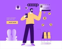 Man online shopping and payment with credit card illustration concept vector