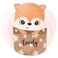 Cute baby fox on the pocket illustration vector