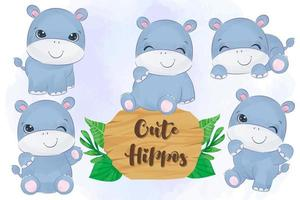 Cute little hippos collection in watercolor vector