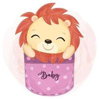 Cute baby lion on the pocket illustration vector