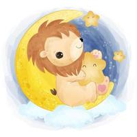 Cute baby lion playing with the stars vector